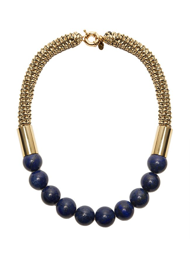 2 by lyn and tony Polara -  Woven Gold Kangaroo Leather Neckpiece with Lapis by 2 By Lyn&Tony