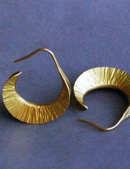 22ct Yellow Gold Earrings - Curled Leaves - Jan Hooft - Hand Made in Australia
