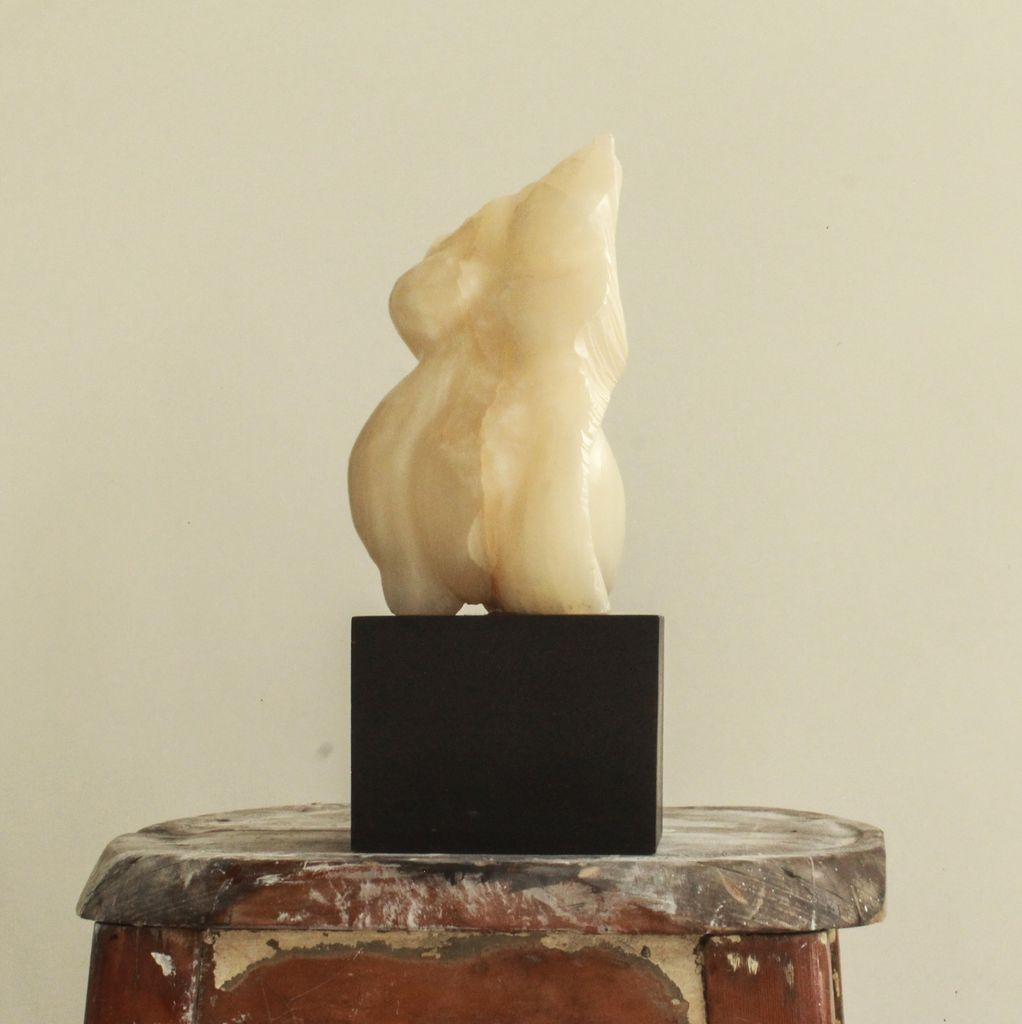 Thomas Bucich - Torso Fragment Sculpture - Carved Onyx on a Wooden Base - 33cm H x 13cm W x 13cm D - Australia