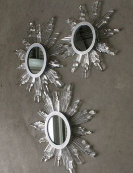 Thomas Bucich - Sunburst Baccarat Crystal Mirror - Vintage Baccarat Crystals - 48cm D - Australia