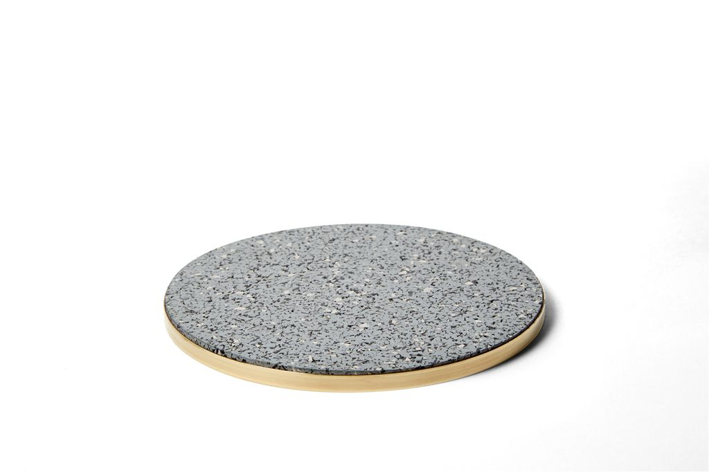 Slash Projects Rubber Trivet - Grey Trivet with Brass Edging - Handmade in Brooklyn - 15cm