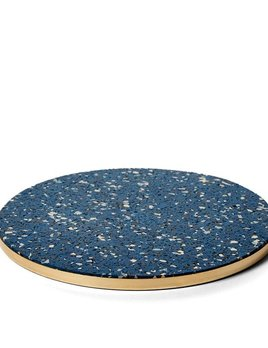 Slash Projects Rubber Trivet - Blue Trivet with Brass Edging - Handmade in Brooklyn - 15cm