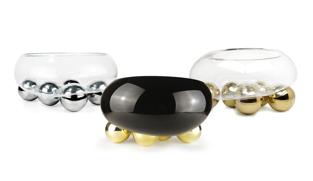 Vanessa Mitrani Creations Vanessa Mitrani - Gravity Collection - 5 Gold Balls Transparent Dishn/ Bowl - 30cm H x 35cm D
