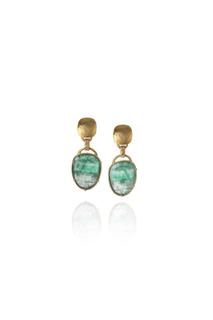 Lisa Black Jewellery - Emerald Jayne Earrings  - Small Facetted Pear Shaped Emerald with Hammered 22ct Gold - Handmade in Australia