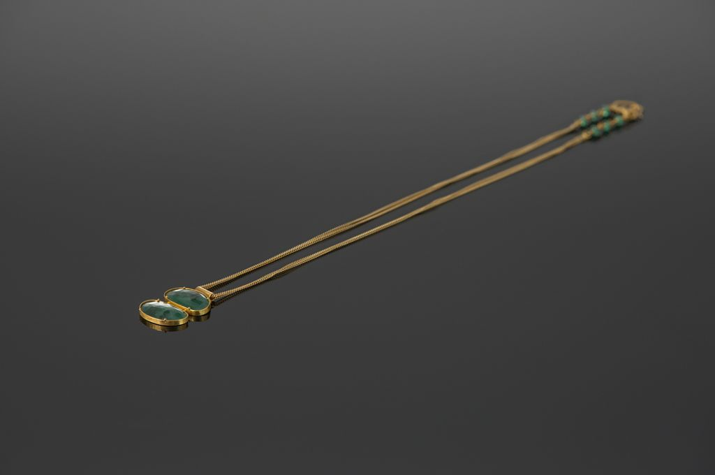 Lisa Black Jewellery - Emerald Malabar Empire - Double Emerald Stone Pendant -  Double 22ct Gold Chain - Handmade in Australia