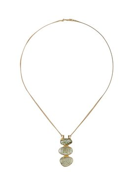 Lisa Black Jewellery - Emerald Malabar Empire Necklace - Triple Emerald Stone Pendant with Double 22ct Gold Chain - Handmade in Australia