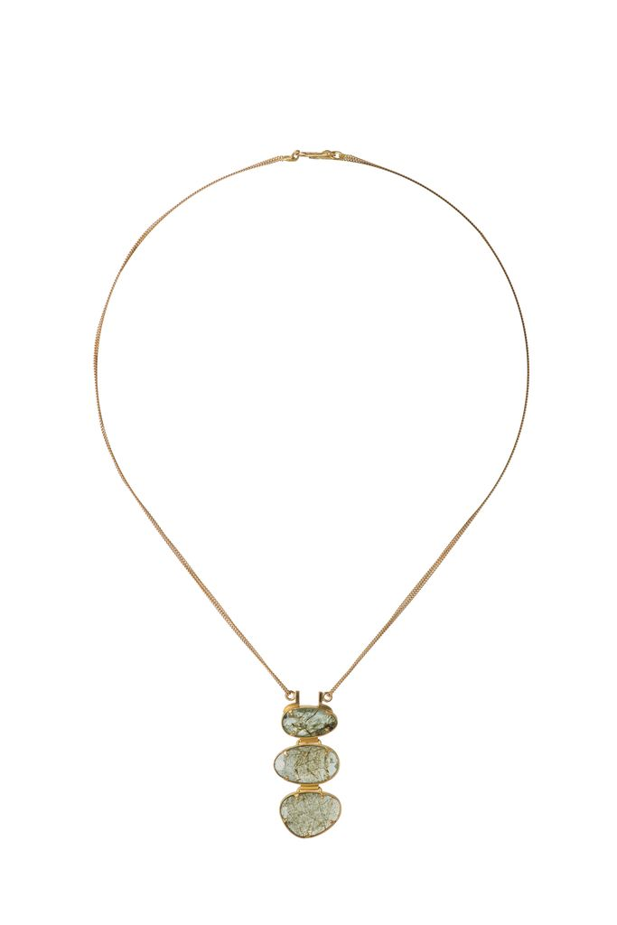 Lisa Black Jewellery - Emerald Malabar Empire Necklace - Triple Emerald Stone Pendant with Double 22ct Gold Chain - Handmade in Australia