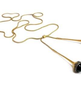 Cecilia Ribeiro Cecilia Ribeiro - Bolota Negra Necklace - Sterling Silver Oxidized Gold Plated - Handmade in Portugal