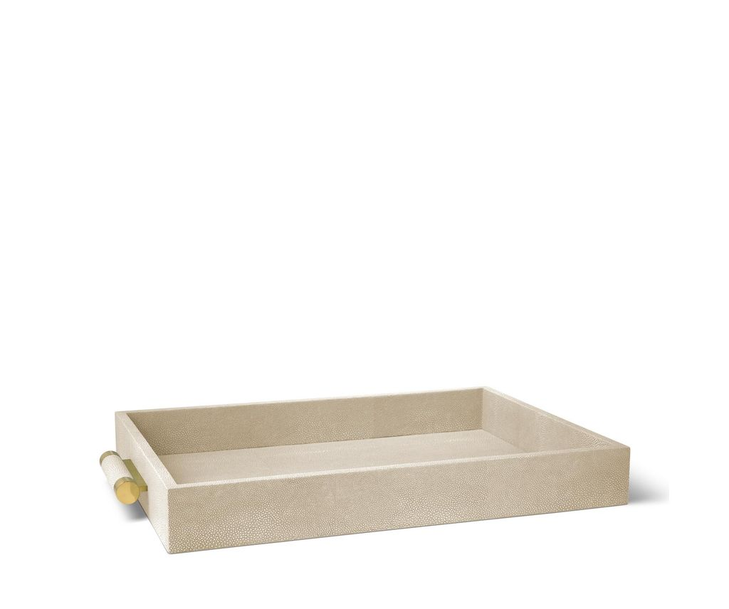 AERIN - Classic Embossed Shagreen Serving Tray - Wheat - 51x37x6.5cm