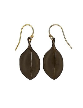 Julie Cohn Julie Cohn Bronze Amulet with Black Patina  Earrings - 10ct Gold Plated - Handcrafted in the USA