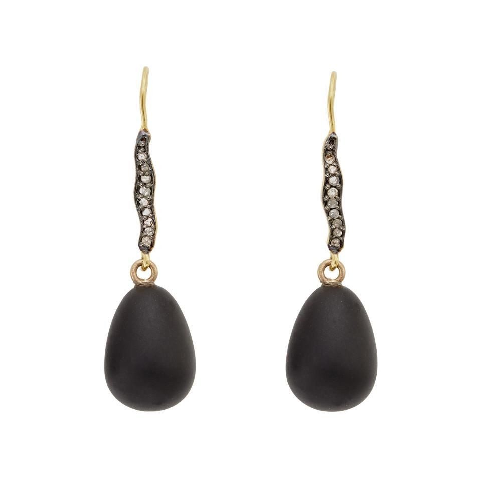 Julie Cohn Julie Cohn Raven Obsidian Diamond Pave Earrings - 10ct Gold Plated - Handcrafted in the USA