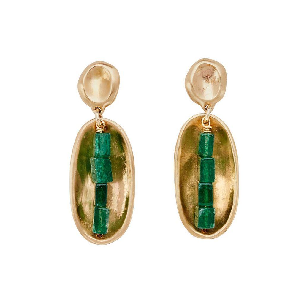 Julie Cohn Juie Cohn Lega Leaf Venturine Earring  - 10ct Gold Plated - Handcrafted in the USA