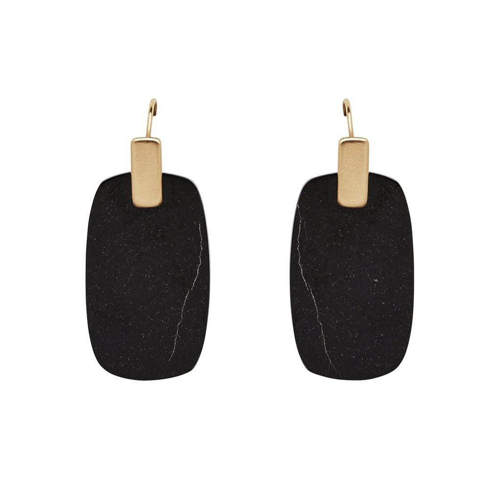 Julie Cohn Julie Cohn Tablet Obsidian Earrings - 10ct Gold Plated - Handcrafted in the USA