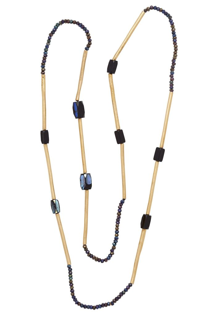 Julie Cohn Julie Cohn Mini Mari Indigo Necklace - Hand Formed Bronze Mini Mari Beads with Spinel and African Fumed Glass Beads - Handcrafted in the USA