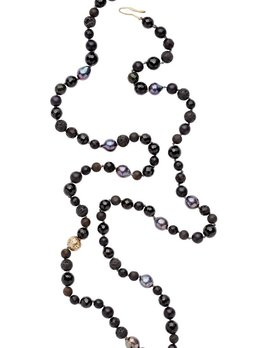 Julie Cohn Julie Cohn Seal Cestial Necklace - Hand Knotted Black & Grey Necklace with Onyx, Pearl, Agate and Hand Formed Bronze Celestial Bead Dotted with Cubic Zirconia - Handcrafted in the USA