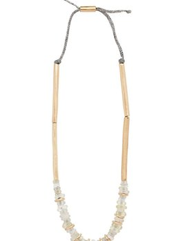 Julie Cohn Julie Cohn Mari Smoke Necklace - Hand Formed Bronze Mari Beads with White Antique Dutch Dogon Glass Trading Beads on Titanium - Adjustable - Handcrafted in the USA