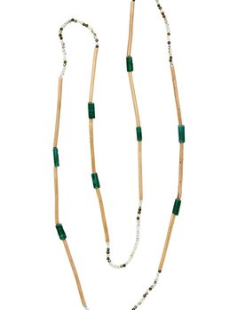 Julie Cohn Julie Cohn Mini Mari Aventurine Necklace - Hand Formed Bronze Beads, Aventurine and Tourmaline - Handcrafted in the USA