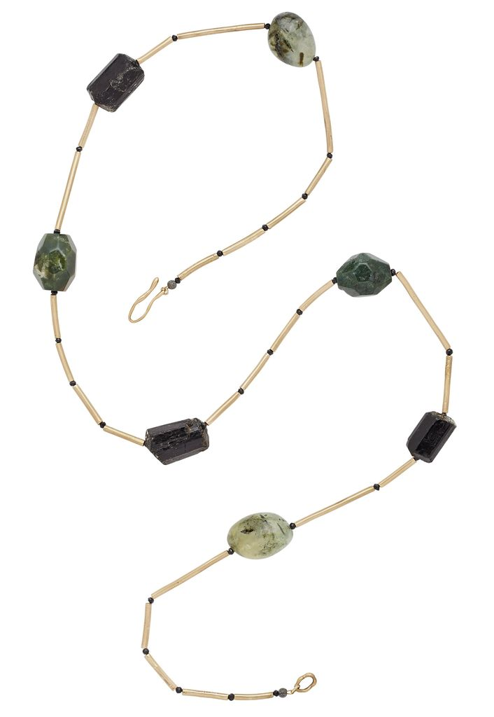 Julie Cohn Julie Cohn Loden Necklace - Hand Formed Bronze Petite Mari beads with Black Tourmaline and Prehnite - Handcrafted in the USA