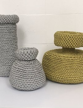 ANTIQUITIES (2017 ) -No 3 Vessel Woven in Gold Metalic Cord - 2 byLyn&Tony (RHS of Image)