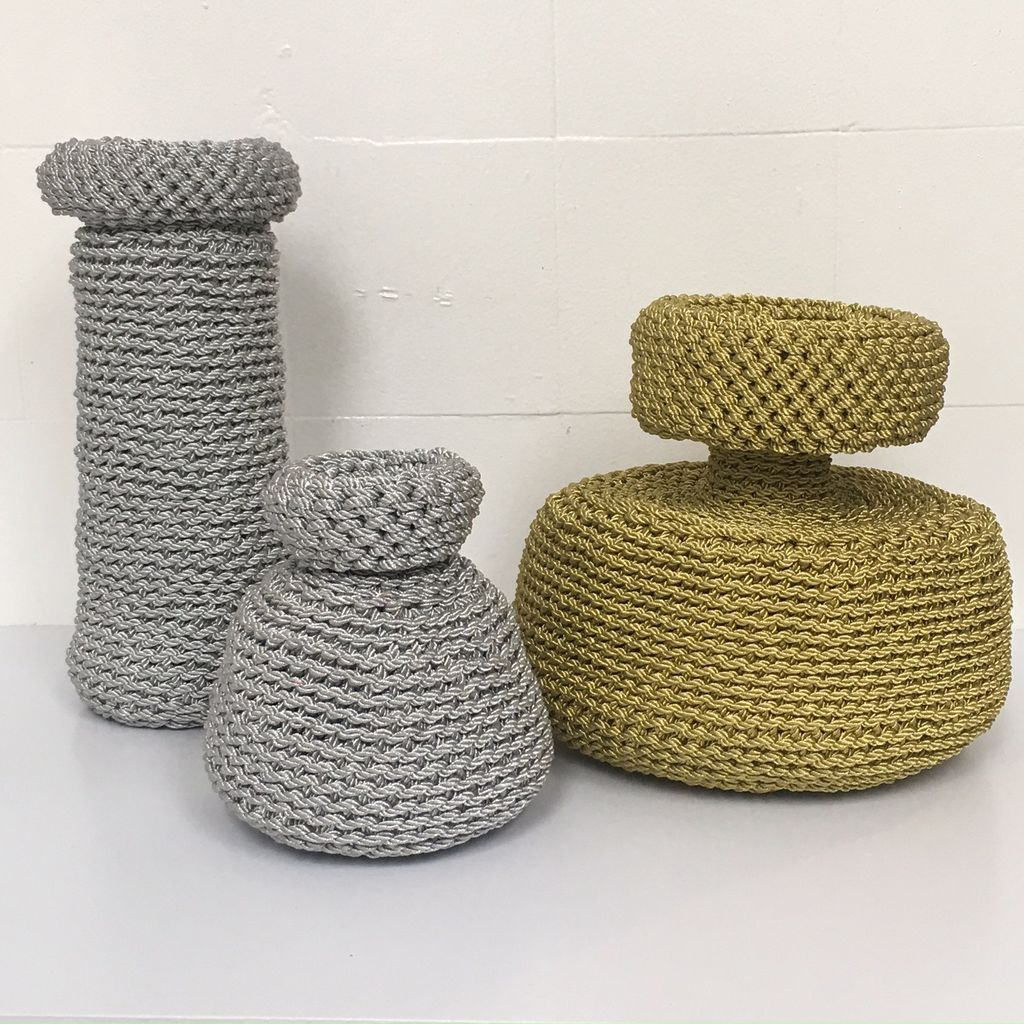 ANTIQUITIES (2017 ) - No 1 Vessel Woven in Silver Metalic Cord - 2 byLyn&Tony (Centre of Image)