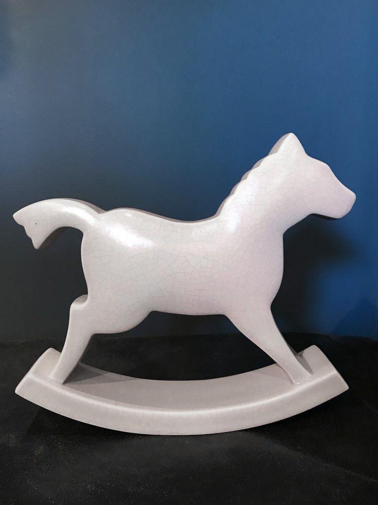 fdc FDC - Rocking Horse - Crackle Glaze Ceramic - Pink - H29cm