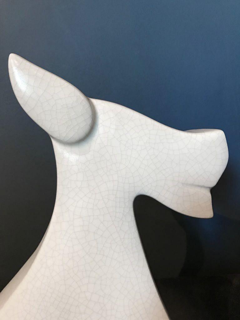 fdc FDC - Fox / Dog - Crackle Glaze Ceramic - Off White - H34cm