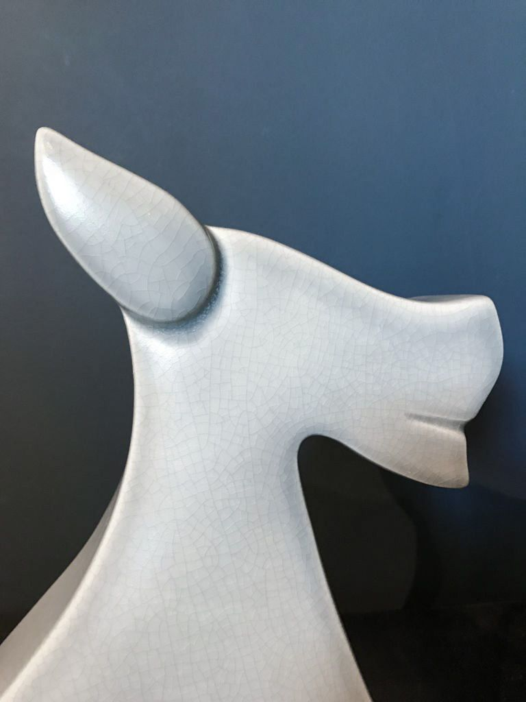 fdc FDC - Fox / Dog - Crackle Glaze Ceramic - Blue - H34cm