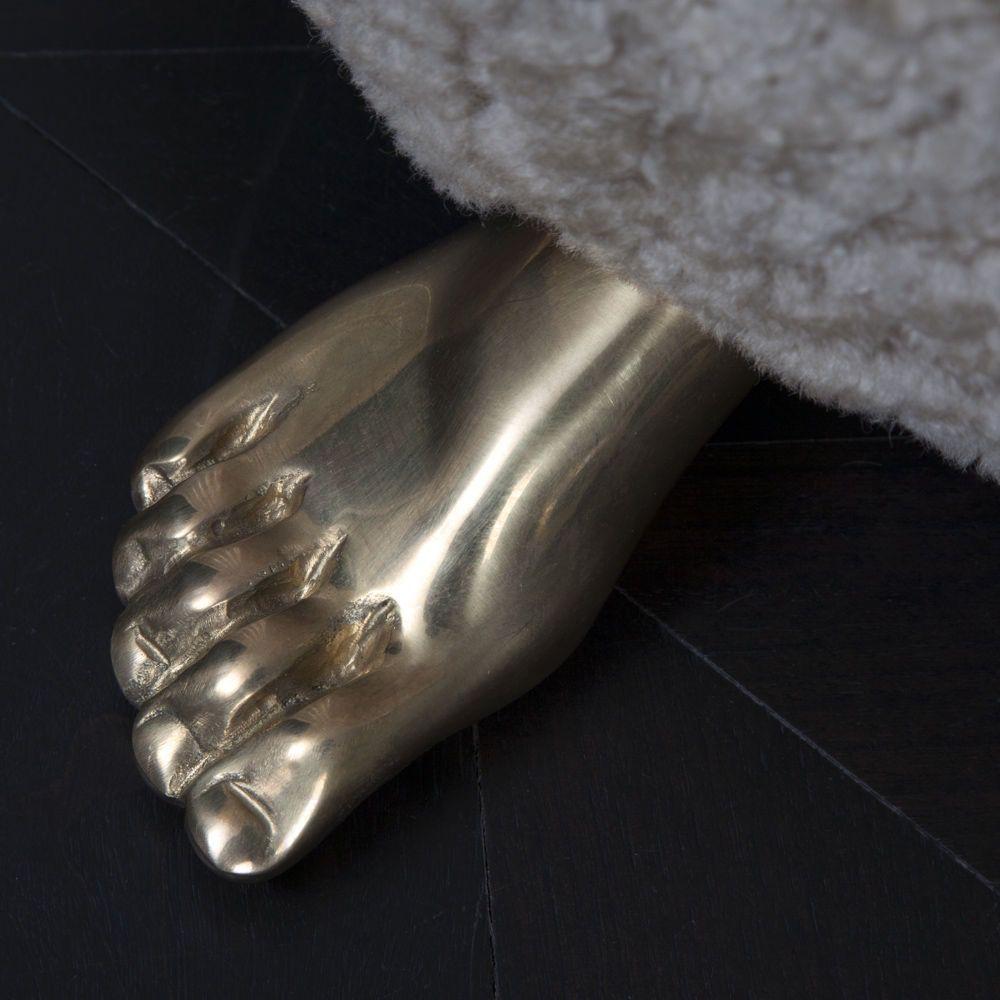 """Kelly Wearstler Kelly Wearstler - Foot Stool - 16"""" Dia x 17.5"""" H - Dusty Beige Shearling"""