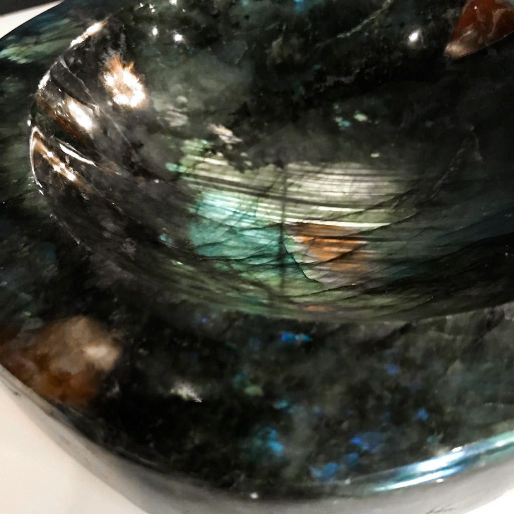 Carved Labradorite Dish or Catch All - Large -17x19x6cm