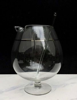 BECKER MINTY Vintage Glass Martini Jug and Stirer - Balloon Style