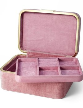 "Aerin AERIN - Beauvaie Velvet Jewellery Box - Dusty Rose - 7.5"" L x 10.6"" W x 5"" H"