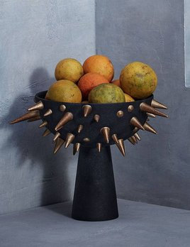 L'Objet L'Objet - Celestial Bowl on Stand - Small - D30xH22cm - Gold on Black Earthenware
