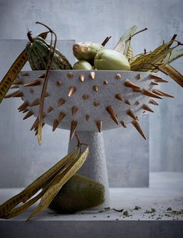 L'Objet L'Objet - Celestial Bowl on Stand - Large - D43xH32cm - Gold on Grey Earthenware