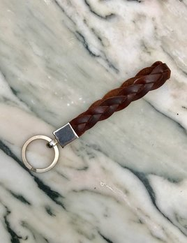 Sterling Silver and Brown Platted Leather Key Ring - Germany