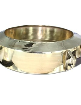 Mr Pinchy & Co - Entertainers Ice Bucket - Polished Brass Sheet and Leather - D73 x H22cm