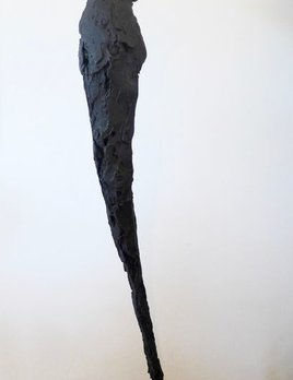 Thomas Bucich - 'Dance Study' 1.5m H  Base 30x30 cm<br /> Plaster, Charcoal, Pigment, Steel - Made in Australia