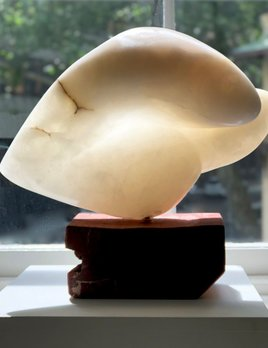 Vera - Carol Crawford Sculpture - Scaglione Alabaster (Italy) on a Red Gum Wooden Base - Australia