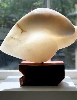 Vera - Carol Crawford Sculpture - Scaglione Alabaster (Italy) on a Red Gum Wooden Base - Australia