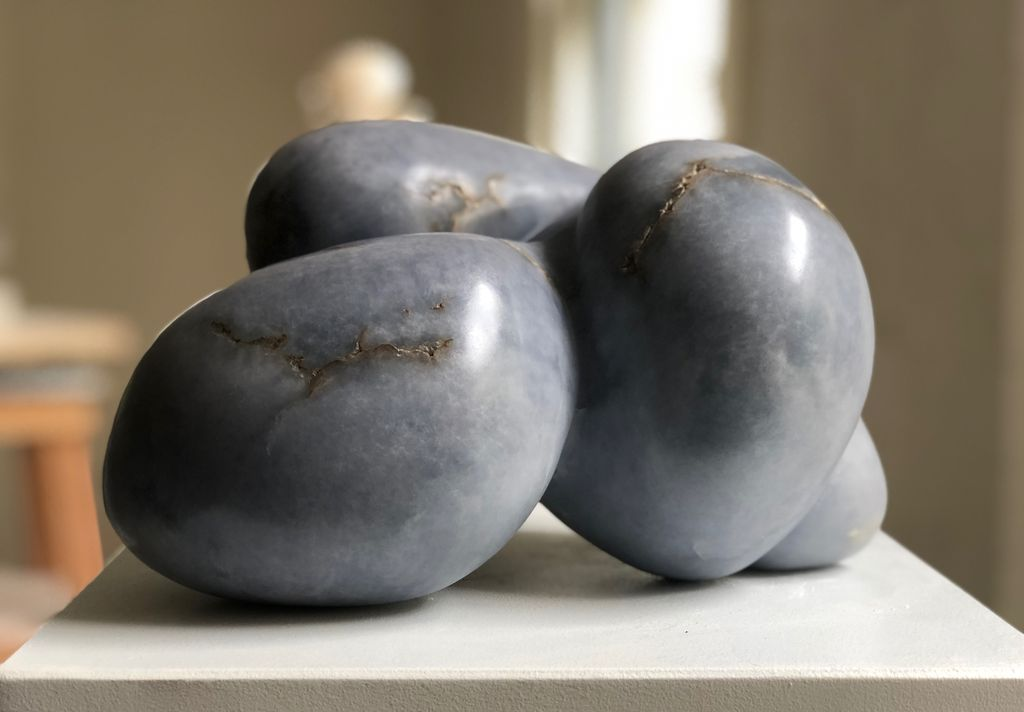 Barbara - Carol Crawford Sculpture - Blue Mist Alabaster (Rare and from the USA) - 27cm W x 19cm D x 19cm H - Australia