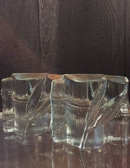 B.M.V.A. Vintage Ice Glass Bamboo Bookends - Blenko - c1960-70