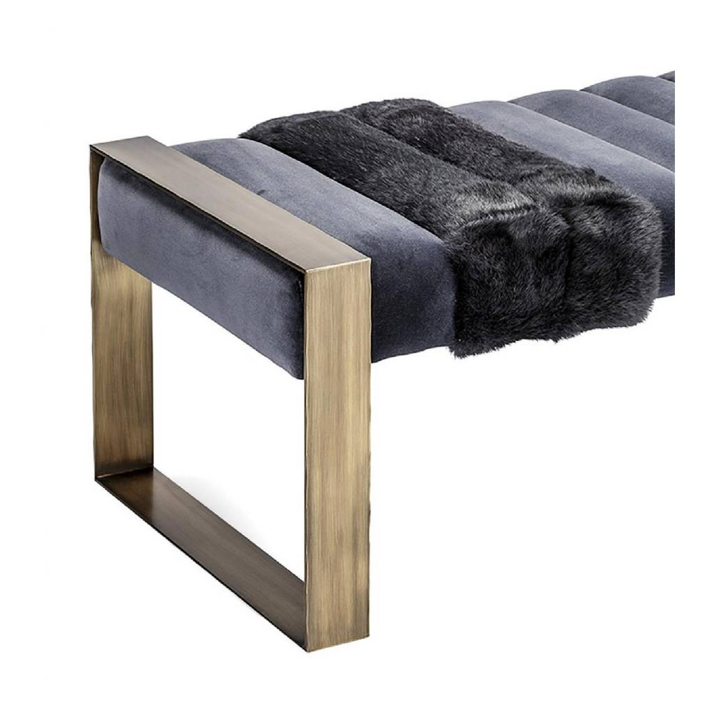 Dawn Bench - Brass, Velvet and Fur - Custom Sizes and Material Available