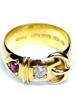 B.M.V.A. Antique Victorian Belt Buckle Ring - 18ct Yellow Gold, Diamond and Ruby Set c1890