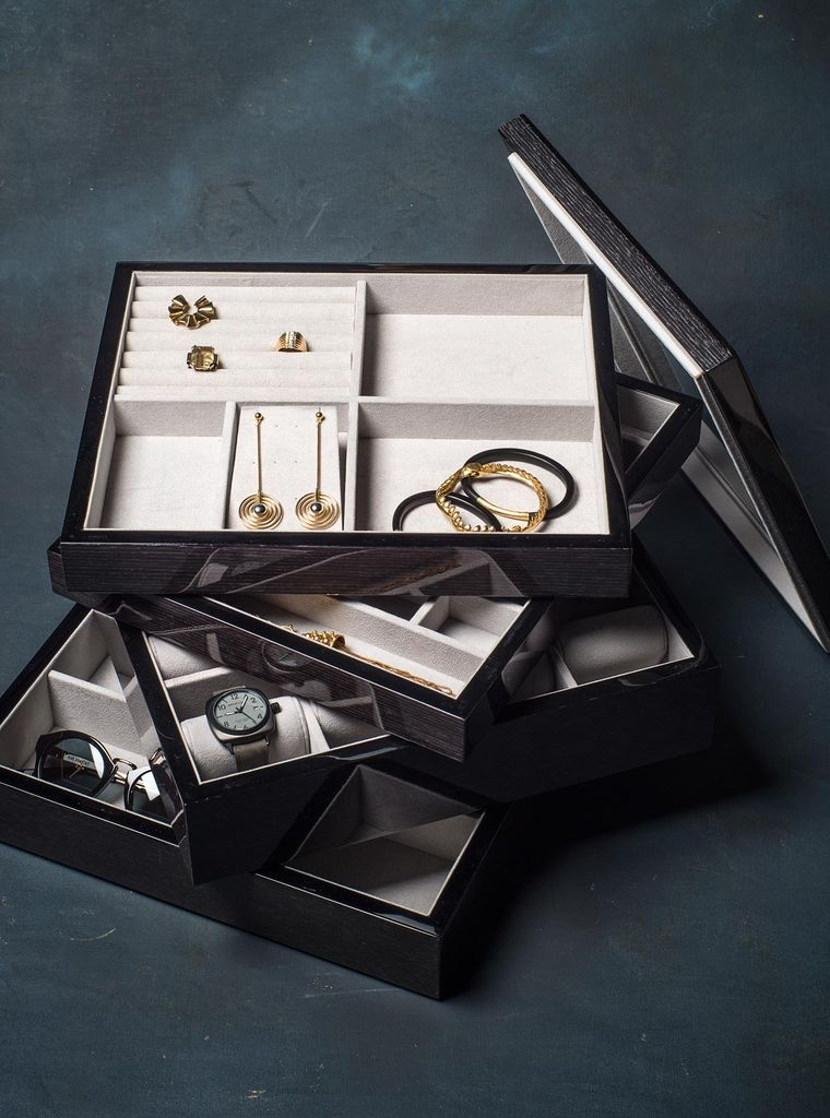 BECKER MINTY - Black Apricot - Cufflink, Earring and Ring Tray (35x30x4cm) - Modular Jewellery and Accessory Tray