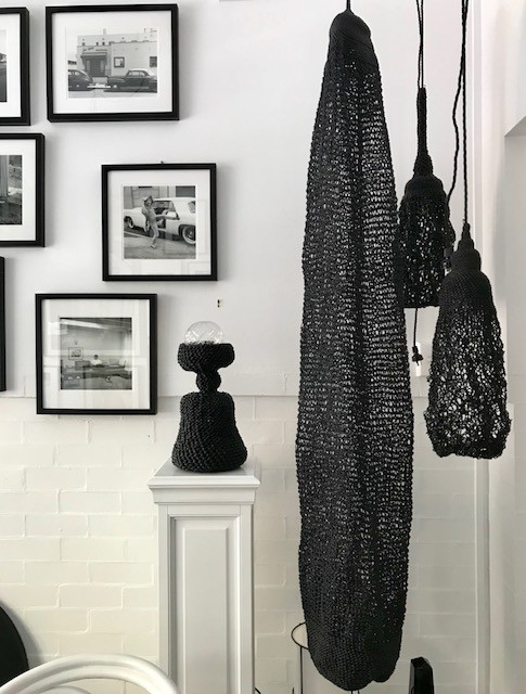 DARK MATTER Woven Black Leather Light Sculpture or Table Lamp by 2 by Lyn&Tony - LED Bulb