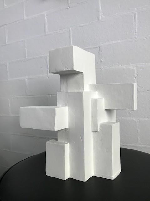 Dan Schneiger Diminuitive Free Standing Sculpture #3 - Dan Schneiger Geometric Sculpture - White - 27x20cm approx