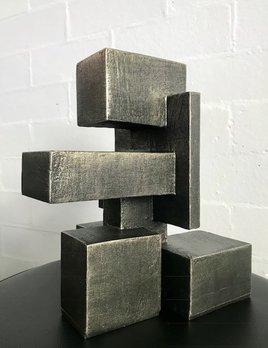 Dan Schneiger Diminuitive Free Standing Sculpture #4 - Dan Schneiger Geometric Sculpture - Black & Gold - 27x20cm approx