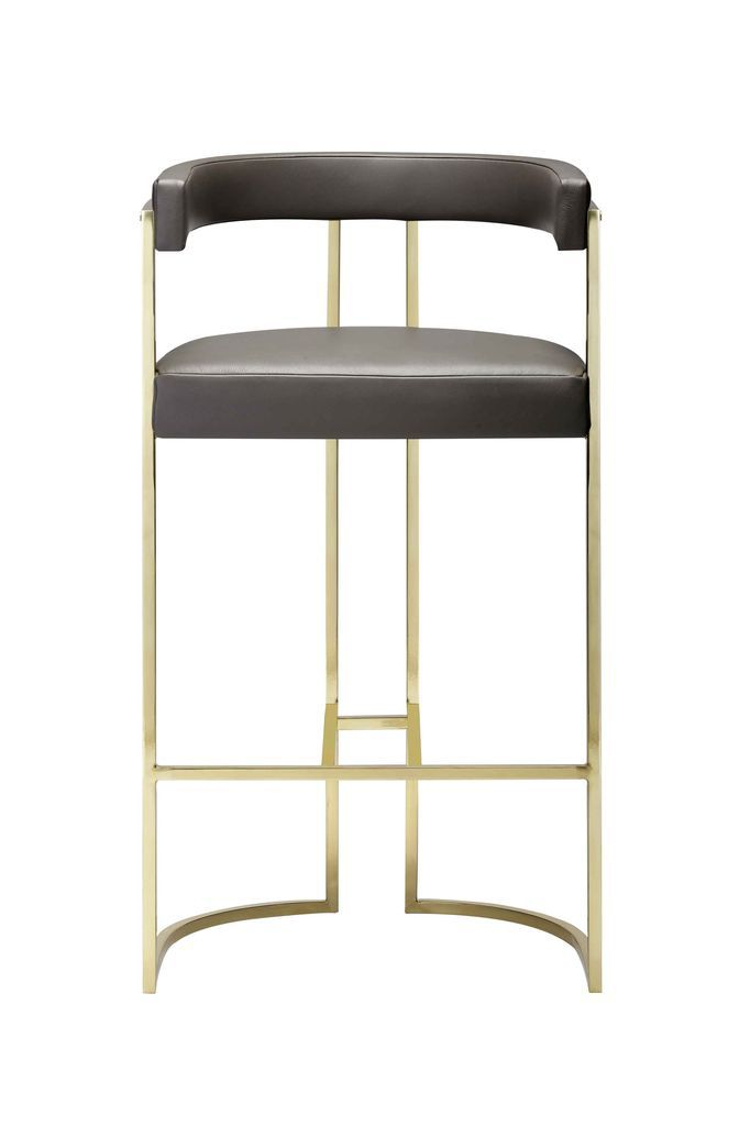 Julius Barstool - Brushed Brass and Waxed Leather - Various Leather Colour Options and Metal Finishes Available