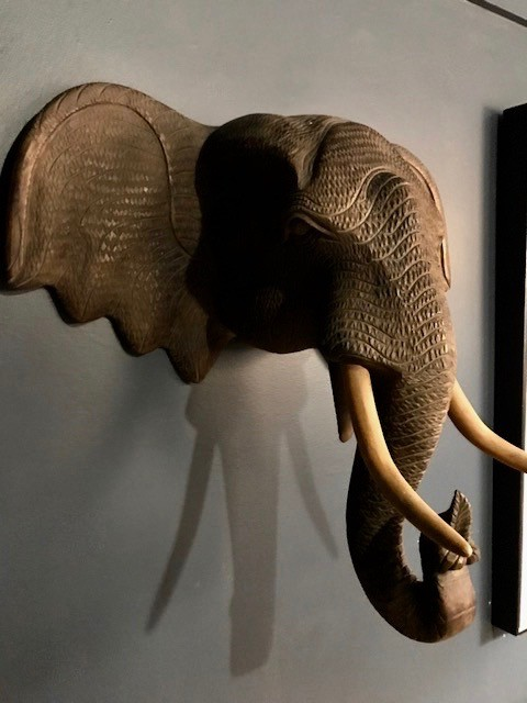Vintage Carved Wooden Elephant Head - Wall Sculpture