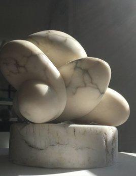 Knockerdli (2017) - Carol Crawford Sculpture - Bardiglio Alabaster on a worn Alabaster Base 23cm H x 22cm W x 20cm H - Australia