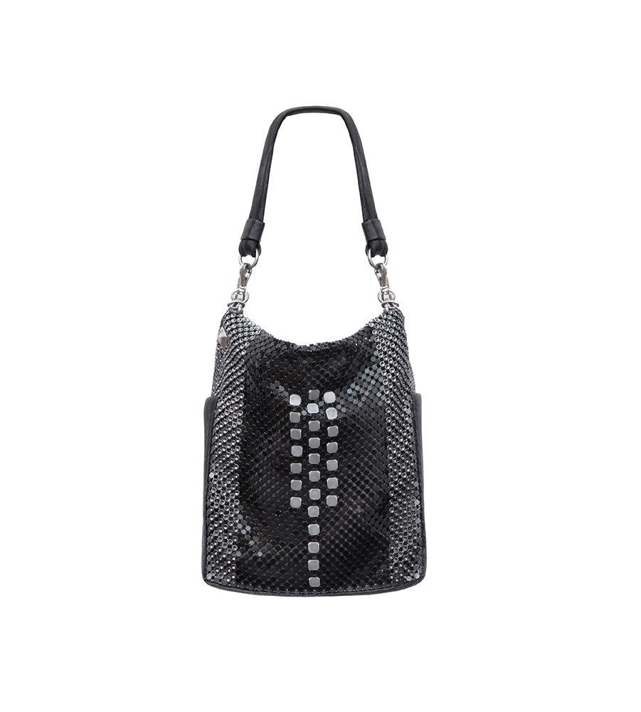 Laura B LAURA B - DECO - Box Disco Glomesh Shoulder Bag  - Shiny Black Mesh and Leather -Handmade in Spain